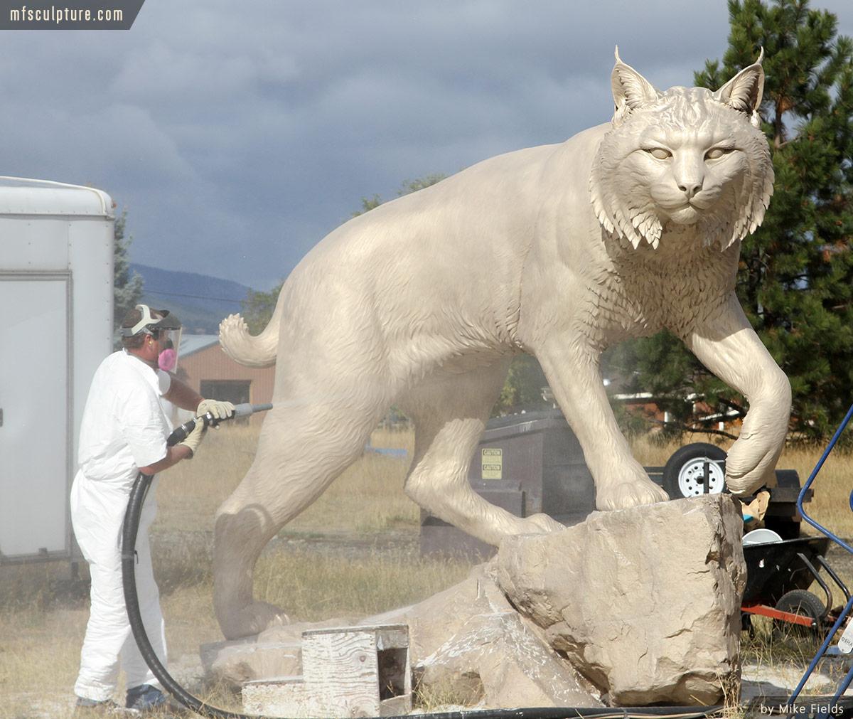 JWU-University-Wildcat-Bronze-Mascot-Bobcat-Sandblasting-2