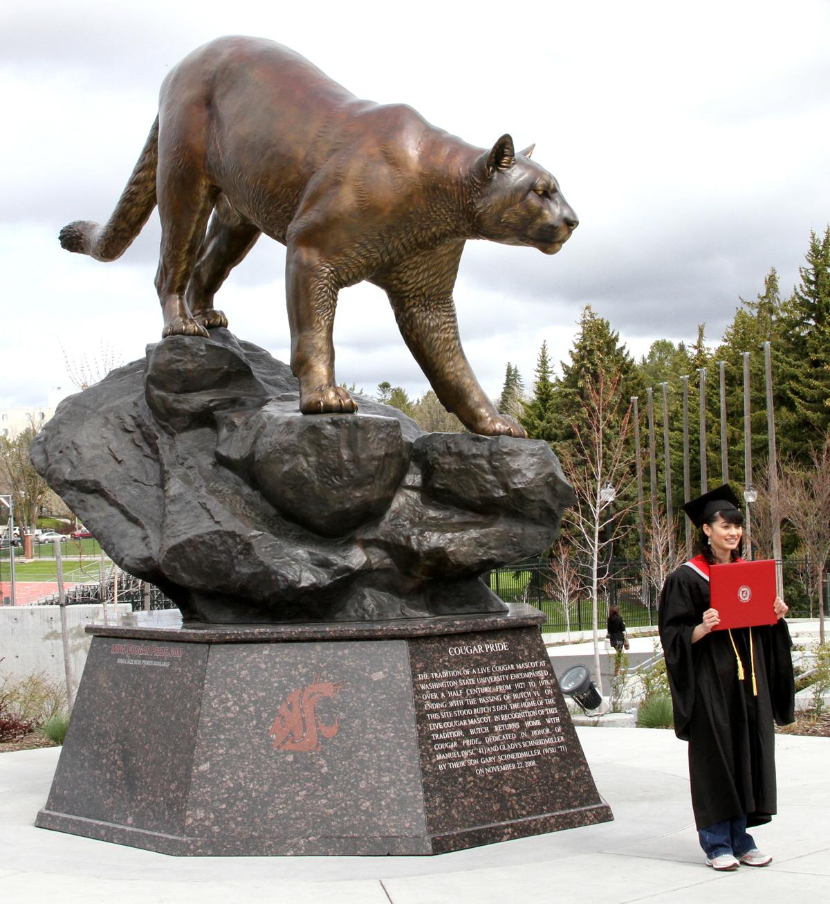 Washington-State-University-Cougar-Mascot-Monument-Graduation