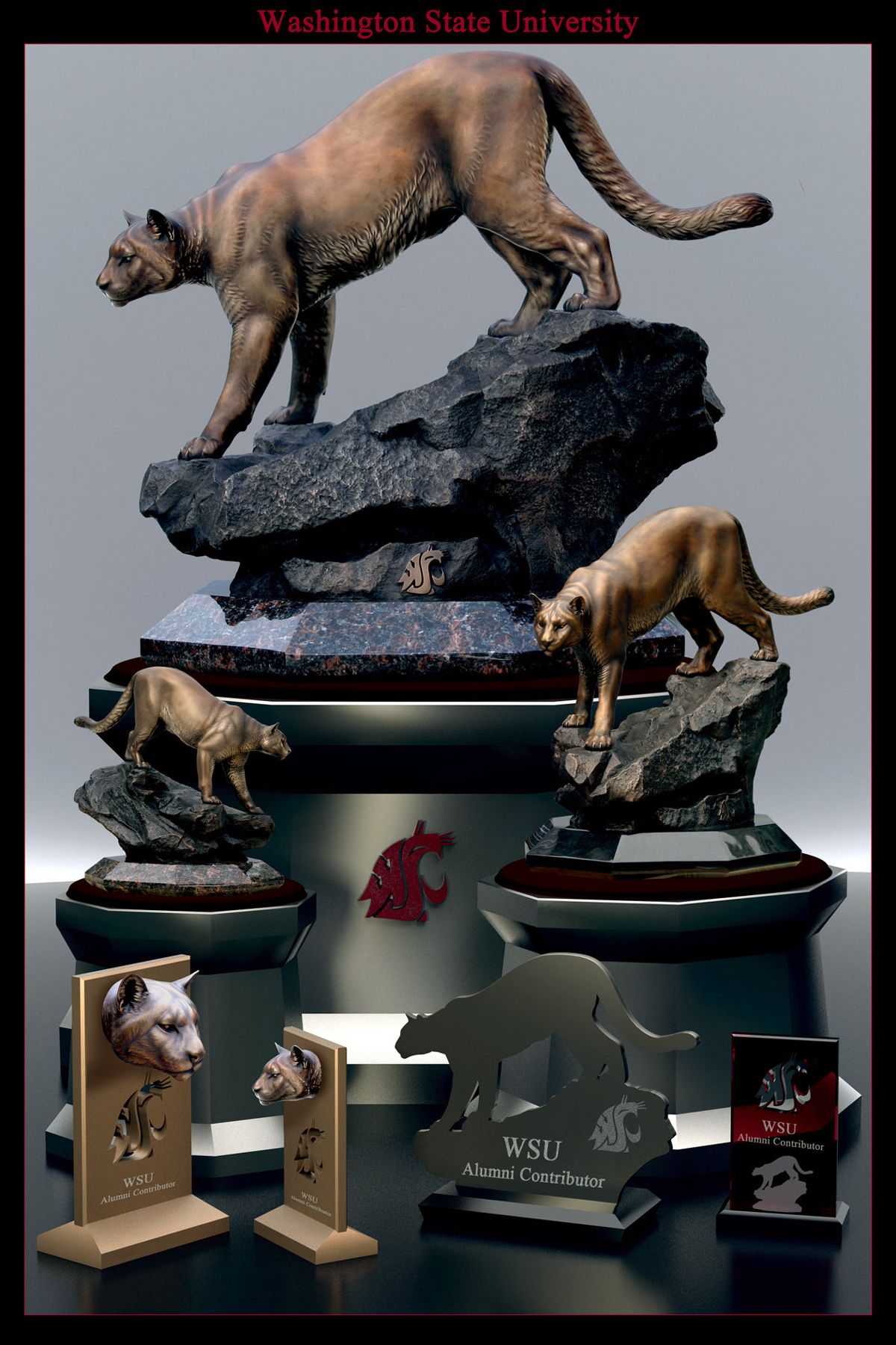 Washington-State-University-Mascot-Monument-Wildcat-Replica-Bronzes